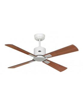 ventilador de sostre blanc amb aspas de fusta i motor DC