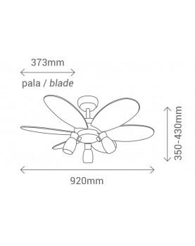 Esquema del ventilador de techo con luz Sulion 072645 Tones