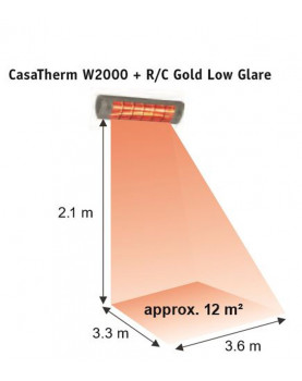 Calentador halógeno W2000 gold de 2000 W cobertura de 12 m2