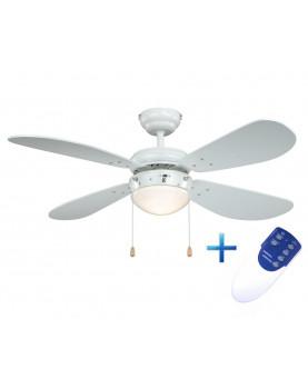 Ventilador de techo con luz y mando a distancia AireRyder FN43311RR Classic blanco
