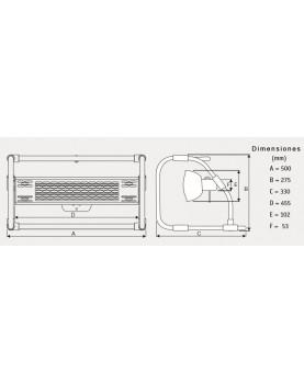 Dimensiones Calefactor halógeno por infrarrojo CasaFan 70033 CASATHERM B2000-II Gold LowGlare