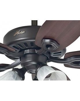 Ventilador de techo con luz Hunter Builder Plus 132 color nuevo bronce base del motor