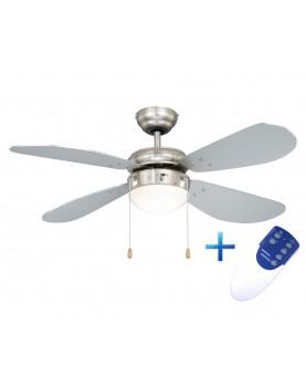 Ventilador de techo con luz y mando a distancia AireRyder FN43332RR Classic plateado/níquel satinado
