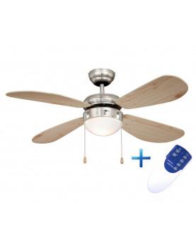 Ventilador de techo con luz y mando a distancia AireRyder FN43335RR Classic pino/níquel satinado