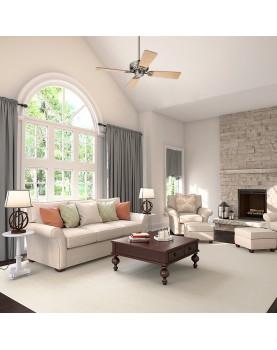 Ventilador de techo Hunter Bayport 107 color cromo satinado estilo clasico y decorativo
