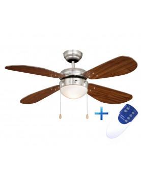 Ventilador de techo con luz y mando a distancia AireRyder FN43336RR Classic nogal/níquel satinado