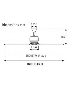 Ventilador de techo Hunter Industrie II color grafito esquema