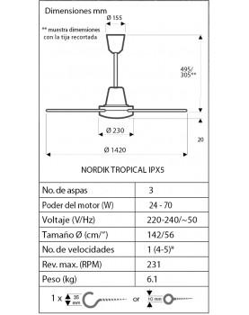 Esquema del ventilador de techo Vortice Tropical IPX5