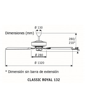 Esquema ventilador para techo CasaFan Classic Royal 132