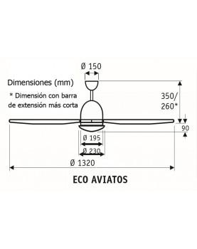 Esquema ventilador de techo Casafan Eco Aviatos motor bajo consumo