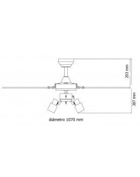 Esquema del ventilador de techo AireRyder FN44477 Cyrus con luz