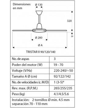 Esquema del ventilador de techo CasaFan Tristar de 140 cm de diámetro.
