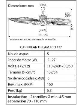 Esquema del ventilador de techo Caribbean Dream Eco 137 con aspas de mimbre