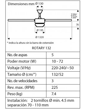 Esquema del ventilador de techo CasaFan 9513265 Rotary 132