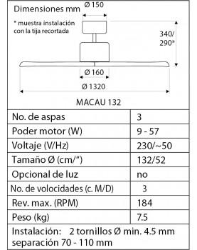esquema del ventilador de techo de madera