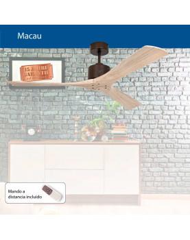 Foto del catálogo del ventilador de techo Macau. Aspas de madera