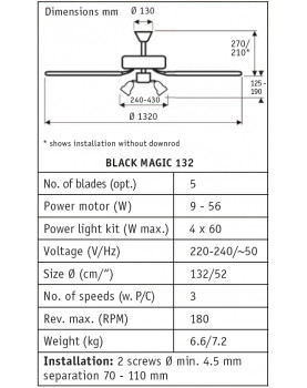 Esquema del ventilador para techo black magic