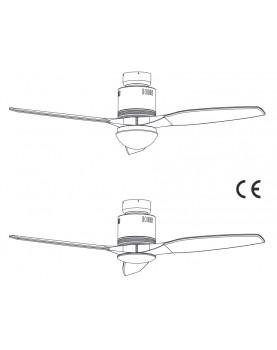 Esquema 3D la lámpara con ventilador AERODYNAMIX ECO 132 BG