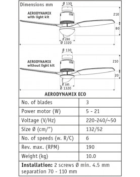 Esquema del abanico de techo AERODYNAMIX ECO 132 BG