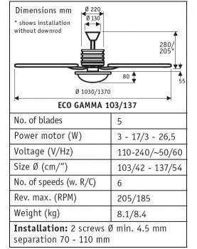 esquema del ventilador para techo CasaFan 9510345 ECO GAMMA