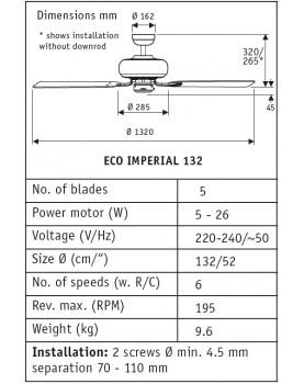 esquema del ventilador de techo ECO IMPERIAL 132 AW