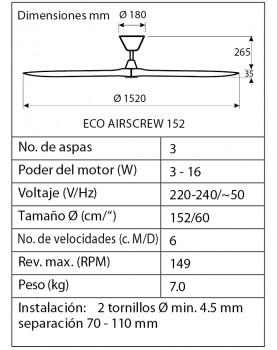 esquema del ventilador de techo  CasaFan 315221 ECO AIRSCREW 152