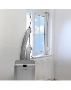 Aislamiento de ventanas para aire acondicionado móvil Trotec con dos salidas