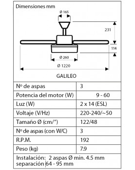 esquema del ventilador Hunter 50620 GALILEO