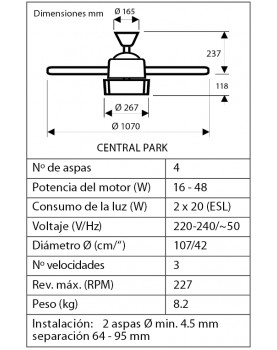 esquema del abanico de techo Hunter 50619 50618  CENTRAL PARK