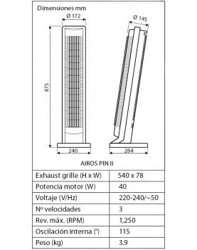 esquema del ventilador de torre  AIROS PIN II