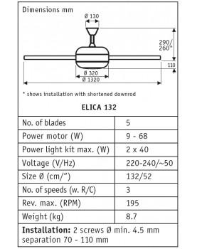 Esquema del Ventilador de techo con luz CasaFan ELica