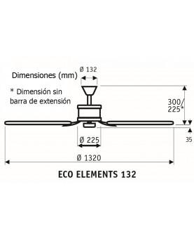 Esquema ventilador de techo CasaFan 513280 ECO ELEMENTS 132 instalación sin barra
