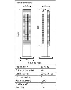 esquema del ventilador de torre casadan AIROS BIG PIN II color negro