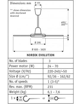 esquema del ventilador para techos NORDIK EVOLUTION 61759 de Vortice