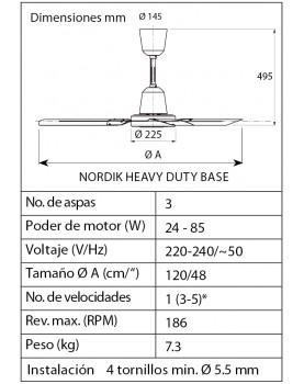 Esquema del ventilador de techo Vortice para uso comercial