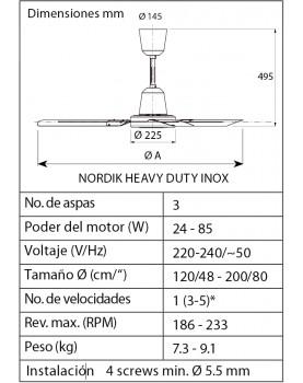 Esquema del ventilador de techo de acero inoxidable Vortice Nordik Heavy Duty