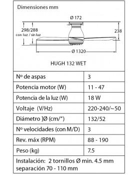 Esquema del ventilador de techo con luz Fanimation HUGH 132 WET blanco