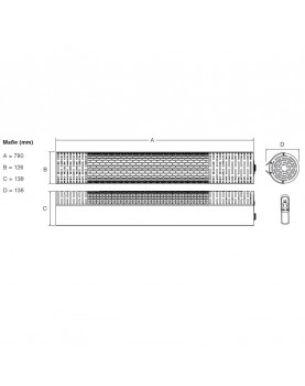 esquema del Calefactor halógenos por infrarrojo CasaTherm