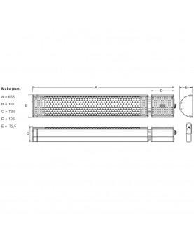 esquema del Calefactor halógenos por infrarrojo CasaTherm S2000 Gold