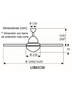 Esquema ventilador de techo con luz CasaFan Libeccio.