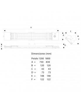 esquema y dimensiones del calefactor Mo-El 728 PETALO 1800