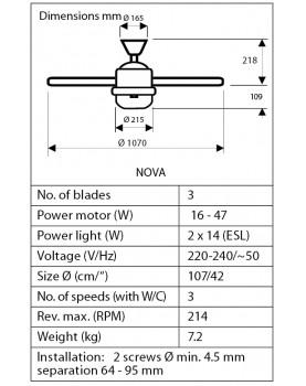 dimensiones del ventilador de techo Hunter