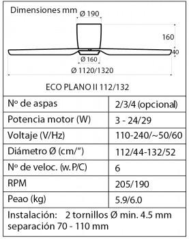 esquema del ventilador bajo ECO PLANO II