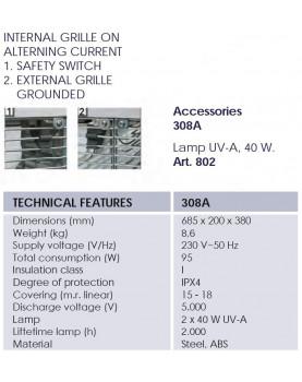 esquema Mosquitera eléctrica profesional Mo-El Cri Cri 308A