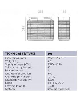 esquema de la Mosquitera eléctrica profesional