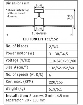 esquema para ventiladores de techo CasaFan ECO CONCEPT