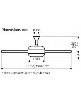 esquema del ventilador de techo titanium de 162 con motor blanco