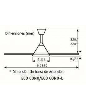 Esquema del ventilador de techo Casafan Eco Cono motor bajo consumo
