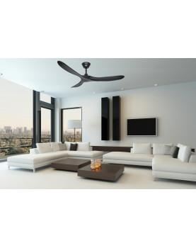 ventilador de techo negro en una habitación