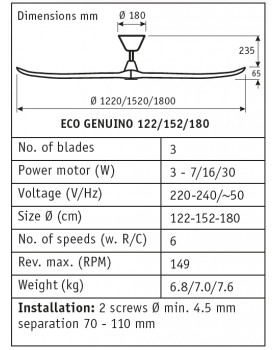 esquema del ventilador para techos  318020 ECO GENUINO 180